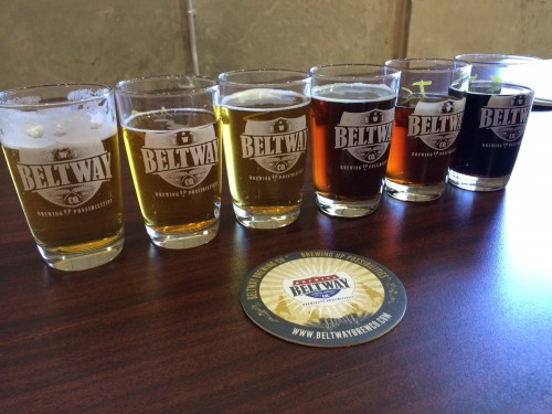 Beer flight at Beltway Brewing Company.